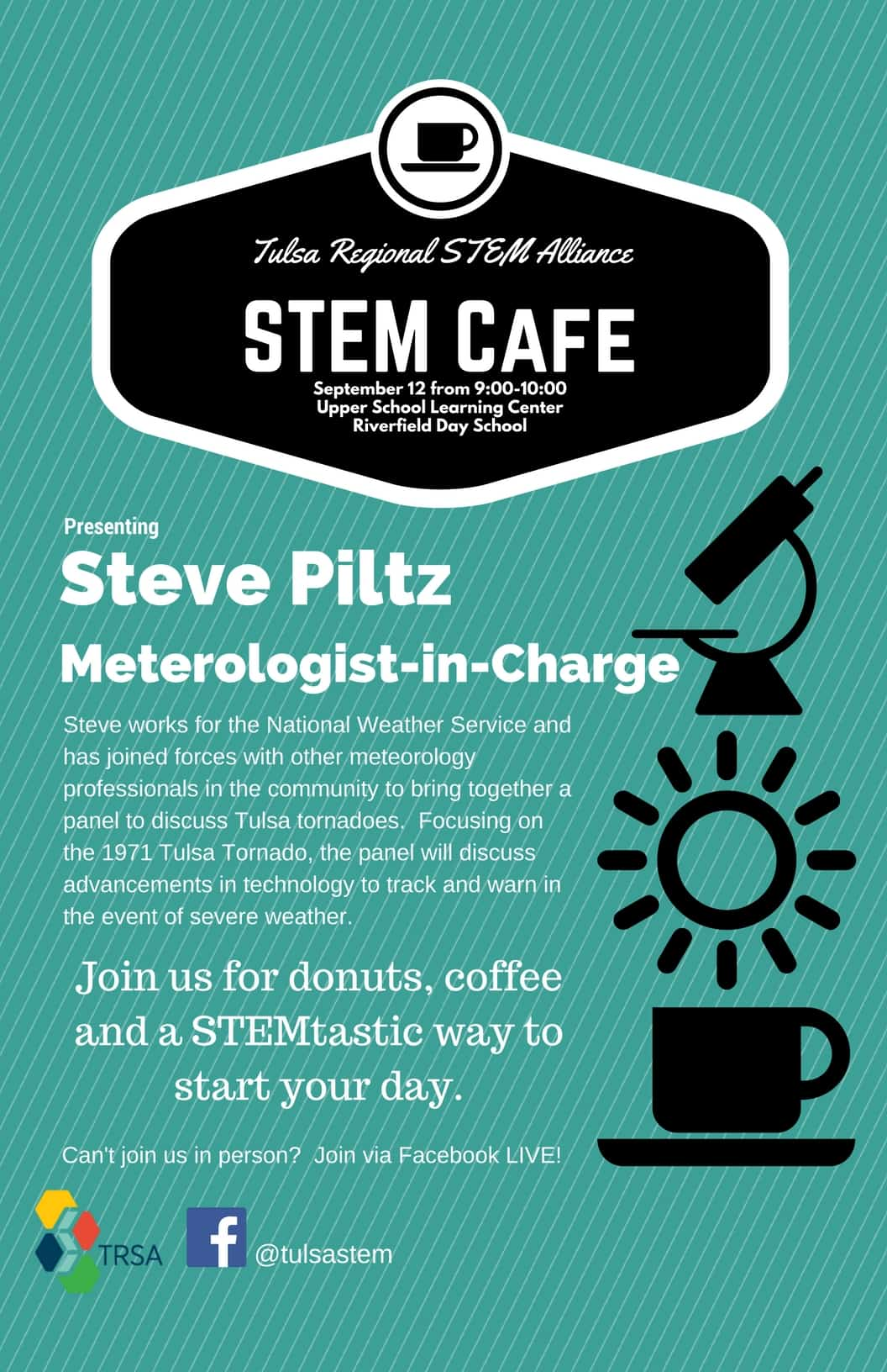 This September, join us at Riverfield Day School as Steve Piltz, Meteorologist-in-Charge at the National Weather Service brings a morning of informal STEM! Students and faculty can join us in-person for free coffee and donuts! Don't attend Riverfied? Don't Worry! We'll broadcast the event on Facebook Live and post a full video on our YouTube channel.
