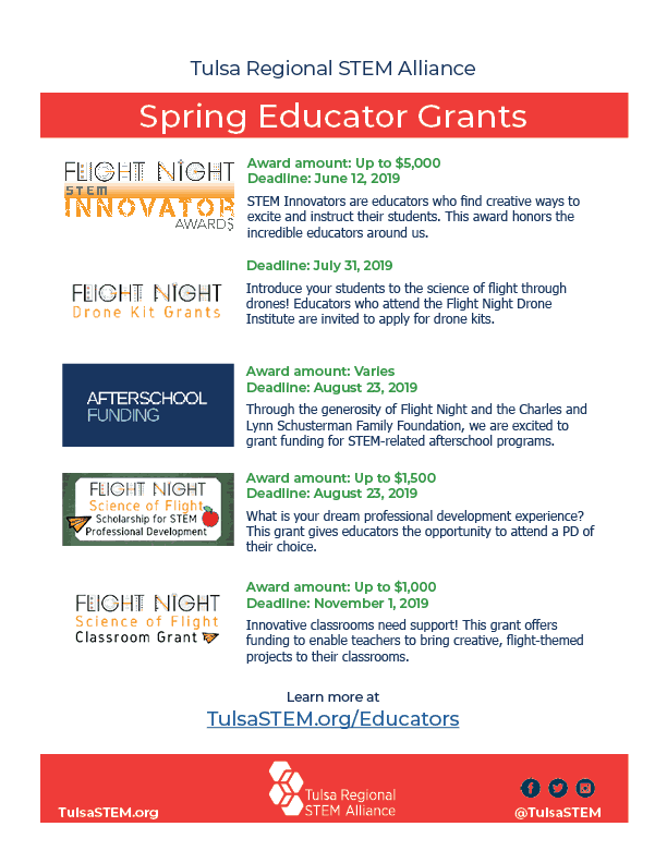 Spring 2019 Teacher opportunity flyer. Click button to download PDF.